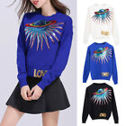 Lady Sweater Fashion Sequins Embroidery Loved Letter Planet Print Knit Pullovers