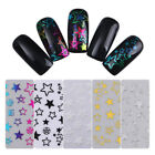 Gradient 3D Stickers Manicure Gold Silver Star Adhesive Nail Art Decoration
