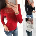 Women Long Sleeve O Neck Lace Patchwork Blouse Pullover Slim Casual T-Shirt Tops