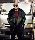 New Mens Luxury Big Fur Collar Trench Thicken Warm Long Fashion Coats Black Plus