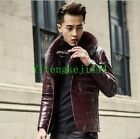 Fashion Men's genuine leather Down coat trench Fox fur collar jacket outwear New