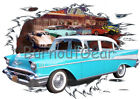1957 Blue Chevy 210 4 door Sedan Custom HotRod Diner T-Shirt 57 Muscle Car Tee's