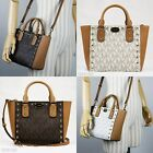 New Michael Kors SANDRINE STUD Brown Vanilla Crossbody Small Satchel Tote $268