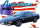 1996 Black Chevy Camaro Z28 Custom Hot Rod USA T-Shirt 96 Muscle Car Tees