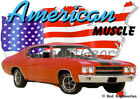 1970 Red Chevy Chevelle a Custom Hot Rod USA T-Shirt 70 Muscle Car Tees