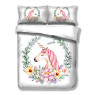 Unicorn Duvet Cover Set Full/Queen/King Size Bedding Set Pink Florals White New