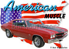 1970 Red Chevy Chevelle SS h Custom Hot Rod USA T-Shirt 70 Muscle Car Tees