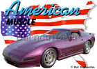 1996 Purple Chevy Corvette Custom Hot Rod USA T-Shirt 96 Muscle Car Tees