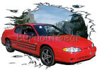 2004 Red Chevy Monte Carlo Custom Hot Rod Mountain T-Shirt 04 Muscle Car Tees