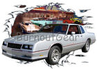 1985 Silver Chevy Monte Carlo a Custom Hot Rod Diner T-Shirt 85 Muscle Car Tees