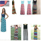 US Womens Bohe Long Maxi Wave Striped Sleeveless Sundress A-Line Party Dress