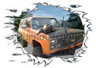 1984 Orange Chevy Blazer a Custom Hot Rod Mountain T-Shirt 84 Muscle Car Tees