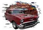 1957 Red Chevy Sedan Delivery a Custom Hot Rod Diner T-Shirt 57 Muscle Car Tees