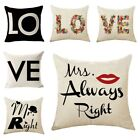 Black and White LOVE  Linen Square Throw Pillow Cases Cushion Cover Home Decor