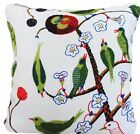 Josef Frank Fabric Green Birds Cushion Cover Printed Linen Fabric White Green