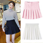 Womens Mini Skirts Casual Slim High Waist Ruffle Pleated Skater Flared Dress new