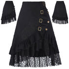 New Womens Steampunk Gothic Gypsy Vintage Black Lace Pencil Work Party Skirts