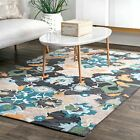 nuLOOM Hand Made Contemporary Bohemian Floral Area Rug in Grey, Blue, Green
