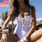 US Womens Lace Up Halterneck One-piece Monokini Solid Swimsuit Beachwear Bikini