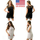 Plus Size Women Graceful Lace Floral Sleeveless Loose Mini Beach Dress Sundress