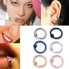Surgical Steel Ball Closure Lip Ring Nose Ring Eyebrow Daith Tragus Hoop Ring EW