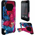 HTC Desire 555 Turbo Layer HYBRID KICKSTAND Rubber Case Cover +Screen Protector