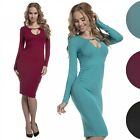 Glamour Empire. Women's Bodycon Stretch Mini Dress Keyhole Long Sleeves. 201
