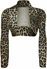 New Womens Animal Leopard Print Long Sleeve Open Top Cropped Ladies Shrug 8 - 14