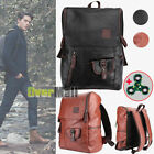 Men's Backpack Vintage PU Leather Backpack School Bags Tote Travel Notebook Bag