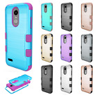 For LG Tribute Dynasty Brushed Metal IMPACT TUFF HYBRID Case Skin Accessory