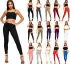New Womens Stretch Plain Full Length Ladies Long Ankle Basic Leggings Pants 8-14