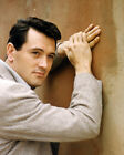 ROCK HUDSON IN SUIT POSING BY WALL 1960'S PHTO SHOOT 8X10 PHOTOGRAPH