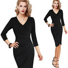Womens Sexy V Neck Ruched Pleated Business Cocktail Party Sheath Faux Wrap Dress