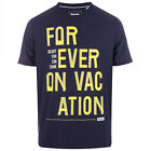 Mens Bench Forever Vacation T-Shirt In Navy- Short Sleeve- Ribbed Collar- Crew