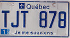 ✿◕‿◕✿ AUTHENTIC CANADA 1995 QUEBEC  LICENSE PLATE.  TJT-878-01 RARE WITH STICKER