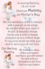 Mother's Day graveside Memorial Bereavement Card Mum Mam Grandma Nan MD32