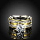 2PCs Women Ladies Bling Cubic Zirconia Rings Gold Plated Titanium Steel Ring Set