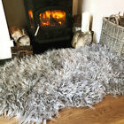 Fluffy Soft Silver Grey Shaggy Rug Faux Fur Soft Non Slip Fake Sheepskin Mat Rug