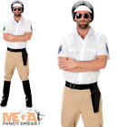 Motorbike Cop Mens Fancy Dress YMCA Police Man Uniform 1980s Adults 80s Costume