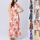 Women's Ladies Floral Printed Maxi Chiffon Long Dress Evening Party Cocktail EW