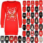 Womens Fleece Tunic Dress Ladies Santa Costume Reindeer Bulldog Elf Sweatshirt