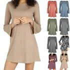 Ladies 70's Jumper Womens Mini Dresses Flare Sleeve Knit Round Neck Swing Top