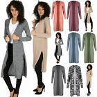 Womens Plain Boyfriend Ladies Side Slit Top Knit Open Front Long Maxi Cardigan