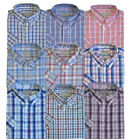 Mens Poly Cotton Check Short Sleeve Button Down Collar Shirt Work Casual M-5XL