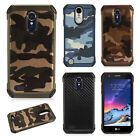 For LG Tribute Dynasty Rubber IMPACT TRI HYBRID Case Skin Phone Cover Accessory