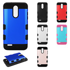 For LG Tribute Dynasty Tuff Trooper HYBRID TPU Case Phone Cover + Screen Guard