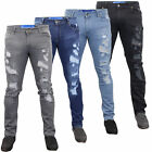 Mens Ripped Denim Jeans Gym Legend Kite Slim Fit Bottoms Trousers Pants Casual