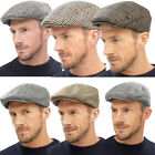 Mens Raiken Country Traditional Peaked Flat Caps Quilt Lined Military Hats Size