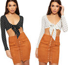 Womens Polka Dot Spotted Print Long Sleeve Tied Front Crop Top New Ladies Crepe