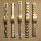 Mens Gold Plated SS Adjustable Deployment Watch Strap Bracelet Band 18mm 20mm
